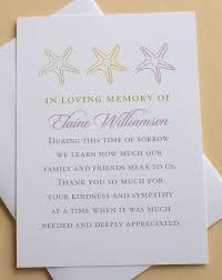 Funeral Words For Cards Interesting Funeral Thank You Cards With Starfishes Or Sand Dollars