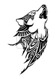 Fototapeta Silhouette Vlčí Knírač Tribal Tetování Design Pro Rameno Nebo