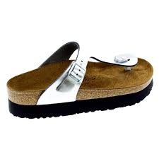 birkenstock gizeh metallic silver leather right side view