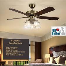 52 ceiling fan light bronze 5 glass light 5 wood blade remote ctrl