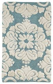 medallion bath rug blue natural