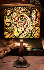 Painting Glass Lamps Psychedelic Design Multi Coloured Hand Silk Painted Lamp Shade