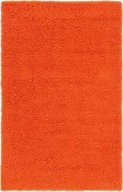 orange area rug shaggy warm soft carpet fluffy modern contemporary