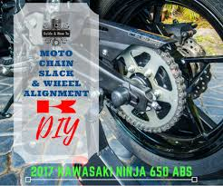 diy motorcycle chain tension adjustment rear wheel alignment