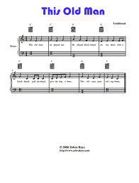 this old man piano sheet music learn how to play piano this old man zebra keys blog