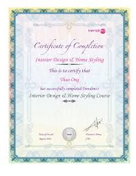 certificate of interior design. Simple Certificate Trendimi Certificate Interior Design U0026 Home Styling This Is To Certify  That Thao Ong Has Successfully Completed Trendimiu0027s Intended Certificate Of C