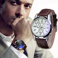 100 original hq luxury men watch with faux leather band and blue ray glass dial quartz og watches men sinobi canada 2019 from a531205967
