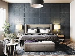 elegant bedroom wall decor. Beautiful Ceiling Light And Master Fabric Bed With Long Headboard Then Texture Wall Decoration Grey Elegant Bedroom Decor