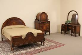Sold Marquetry 1920s Full Size Antique Bedroom Set 3 Pc Harp With  Dimensions 1280 X 854