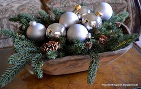Dough Bowl Decorating Ideas Dough Bowl Filled With Greenery Lights And Silver Ornaments 91