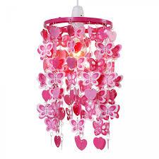 children s bedroom pendant ceiling light shade width pink hearts erfly detail
