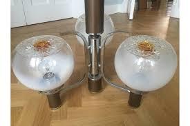 stunning large mid century modern mazzega murano 3 globe chandelier 1960s rewired uk eu