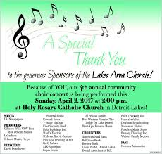 thank youto the generous saonsors of the lakes area che because of you our