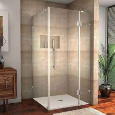 frameless shower enclosure in stainless steel with self