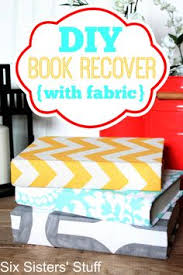 diy book recover with fabric from six sisters stuff such a cute idea to