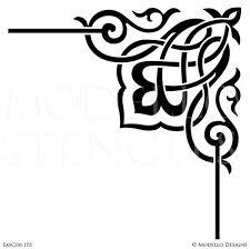 Decorative Corner Designs Corner Stencils for Custom Painted Floor Walls Ceiling Modello 2