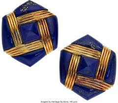 Lapis Lazuli, Gold Earrings, Albert Lipton. ... Estate Jewelry ...