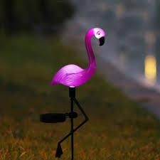 Solar Power Pink Flamingo Lawn Dector Garden Stake Landscape Lamp