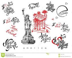 Lettering Templates Usa Set Of Elements For Design Las Vegas New York