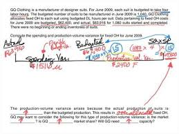 Standard Costing Formula Chart Standard Costing Fixed Overhead Variances