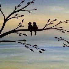 love birds acrylic painting canvas art bird lover gift silhouette acrylic painting on canvas wall