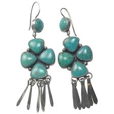 vintage navajo turquoise chandelier earrings sterling silver signed large stones