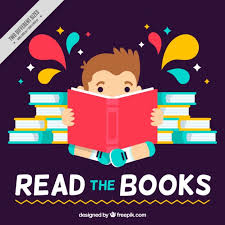 reading open book cartoon flat background of kid reading a book vector of reading open book
