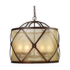 drum pendant light with amber glass in classic bronze
