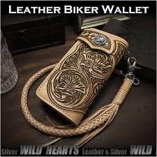 genuine cowhide leather biker wallet fl western scroll hand tooled carved tan leather wild hearts leather silver item id lw3490