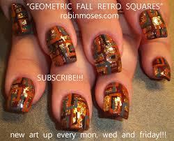 fall nail, autumn nail, retro fall nail, geometic nail, fall ...
