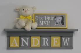 baby boy room decoration name nursery decor shelf gray with