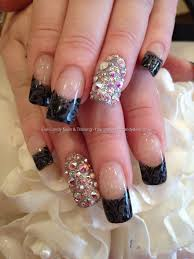 Grey polish tips with black freehand nail art and Swarovski ring ...
