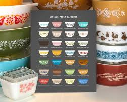 Pyrex Color Chart Vintage Pyrex Patterns Chart Kitchen Sign Rare Pyrex Etsy