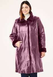 fur trim leather swing coat