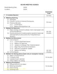 Sample Of Agenda Sample Meeting Agenda Templates With Times Format