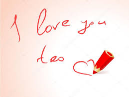 card i love you too and red pencil vector by