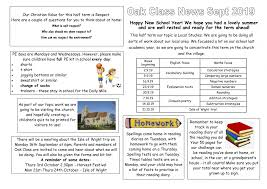 Class Newsletter September 2019 Oak Class Newsletter Little Munden Primary