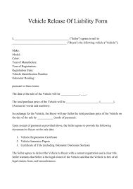Vehicle Sale As Is Form Free Release Of Liability Form Template Download Liability
