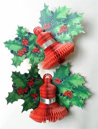 Paper Decorations Christmas Of Vintage Paper Card Honeycomb Bell Holly Wall Christmas