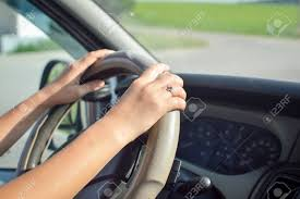 Picture Of Womans Hands Holding Steering Wheel Inside Car Young