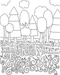 Small Picture Free Coloring Pages for Adults Trees Flowers