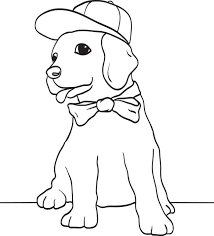 Small Picture Free Printable Puppy Dog Wearing a Baseball Cap and Bow Tie