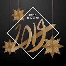 Happy New Year 2019 Greeting Card Design With 3d Paper Cut Art Style ...