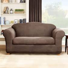 sure fit home s form fit stretch faux leather 2 piece sofa slipcover