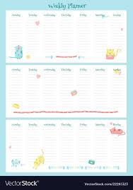 Weekly Planner Template With Cute Cats Royalty Free Vector