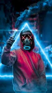 Mask Guy,smoke,mobile wallpaper