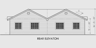 One Story Duplex House Plans  Narrow Duplex Plans  BedroomHouse front drawing elevation view for D  One story duplex house plans  narrow