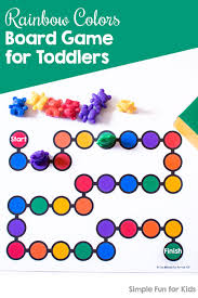 Rainbow Colors Board Game For Toddlers Simple Fun For Kids Coloring