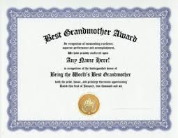 Customized Gift Certificates Details About Best Grandmother Grandfather Award Certificate Grandma Nana Papa Customized Gift