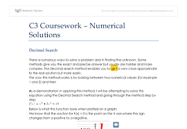 c coursework different methods of solving equations a level  document image preview